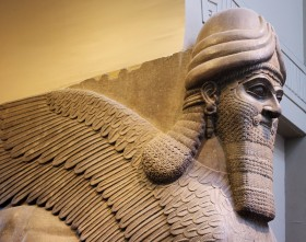 Detail of Winged Human-Headed Lion from Nimrud In the British Museum.