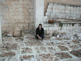 Sue Ann McCarty with a single day's excavation worth of pottery.  Photo by Andy Creekmore.