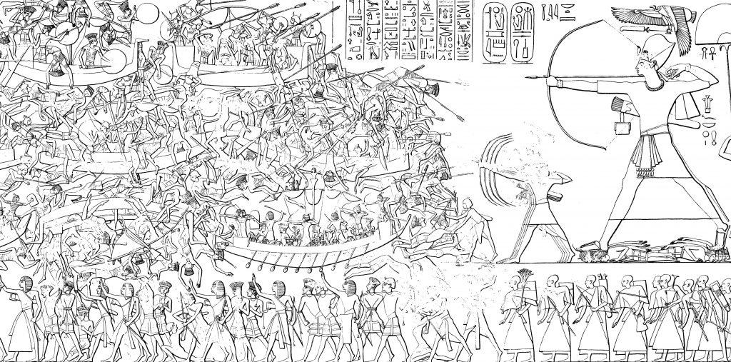 Ramses III fighting the Sea Peoples at Medinet Habu. (Wikimedia Commons)