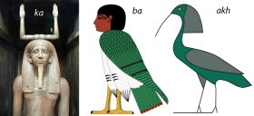 Left to right; the ka statue of King Hor (Photo, John Bodsworth), the ba bird (Illustration, Jeff Dahl) and the Akh bird.
