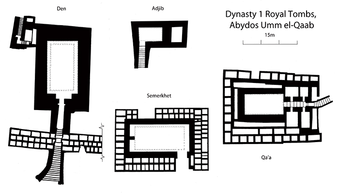 Royal stairway tombs at Abydos in the second half of Dynasty 1 (Drawn by the author after Kaiser and Dreyer 1982, Abb.12 and Dreyer, G. (2003) 'The tombs of the First and Second Dynasties' in Z. A. Hawass (ed.) The treasures of the pyramids. Vercelli, White Star. 62–77, 69).