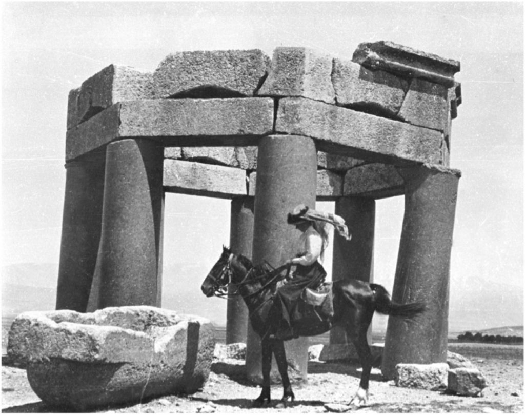 Gertrude Bell at Kubbet Duris, Baalbek Lebanon, June 1900. Photograph Courtesy of The Gertrude Bell Archives, Newcastle University.