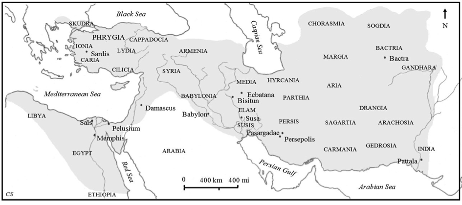 The extent of the Achaemenid Persian Empire; drawing from Semiramis' Legacy, p. 156, © Clio Stronk