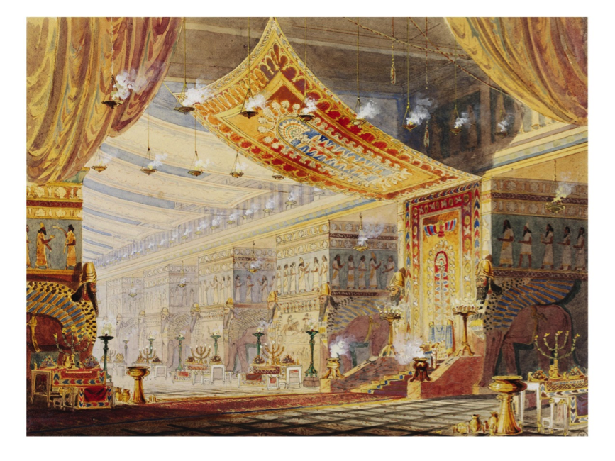 F. Lloyds (c. 1853), design for the scenery for 'Sardanapalus', a 1821 historical tragedy by Lord Byron, amongst others based upon Diodorus (c. 1853 performed in the Princess's Theatre, London –producer Charles Kean), watercolour and bodycolour, © Victoria and Albert Museum, London.