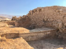 Image courtesy of Brandy Forrest with permission from the Tall el Hammam Excavation Project. This example demonstrates the clarity of the Roman wall as well as the intersection of an older Middle Bronze Age structure. The image not only documents this section of excavation but also gives perspective against the backdrop of the larger geographical area.